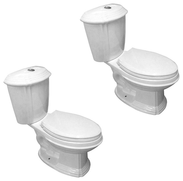 Enjoyable White Porcelain Elongated Push Button Dual Flush Toilet With Seat Set Of 2 Ocoug Best Dining Table And Chair Ideas Images Ocougorg