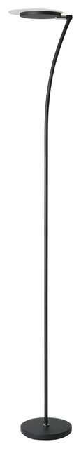"73"" Tall Adjustable Metal Torchiere Floor LED Lamp, Matte Black"