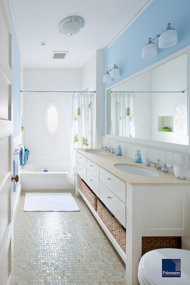 Inspiration for a mid-sized victorian kids' mosaic tile and multicolored tile mosaic tile floor tub/shower combo remodel in Other with flat-panel cabinets, white cabinets, engineered quartz countertops and blue walls