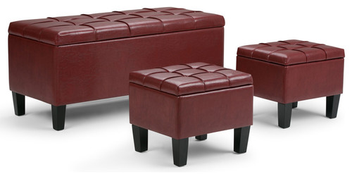 3-Pc Storage Ottoman Bench Set in Radicchio Red