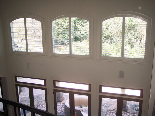 Ordinaire Window Treatments. Plantation Shutters In Hard To Cover High Windows!  Traditional