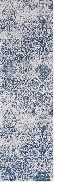 """Nourison Damask Ivory And Navy Area Rug, 2&x27;3""""x7&x27;6""""."""