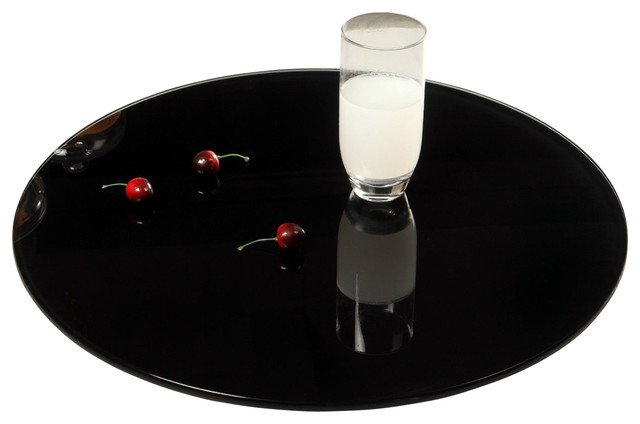 Chintaly Imports 24 Quot Round Glass Lazy Susan In Black