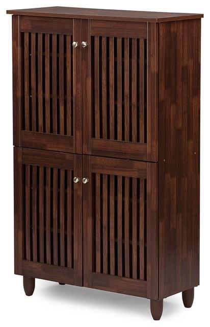 Fernanda And 4-Door Oak Brown Wooden Entryway Shoes Storage Tall Cabinet.