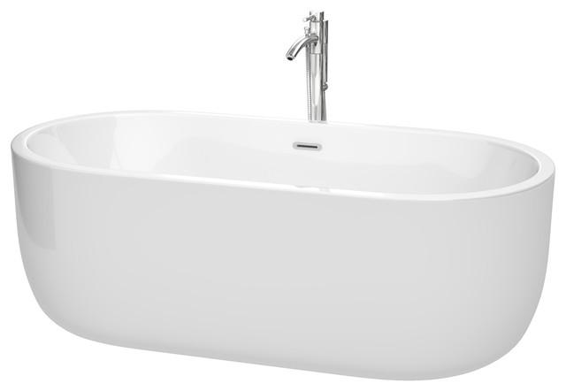 "Juliette Soaking Bathtub, 67"", Trim: Polished Chrome, Faucet: Chrome."
