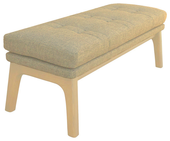 Astonishing Mid Century Modern Ottoman Bench Footrest Pouf Oatmeal Tan Beige Creativecarmelina Interior Chair Design Creativecarmelinacom