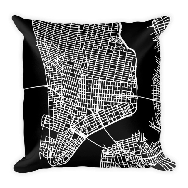 New York City Map Pillow Contemporary Decorative Pillows By Simple Decorative Pillows Nyc