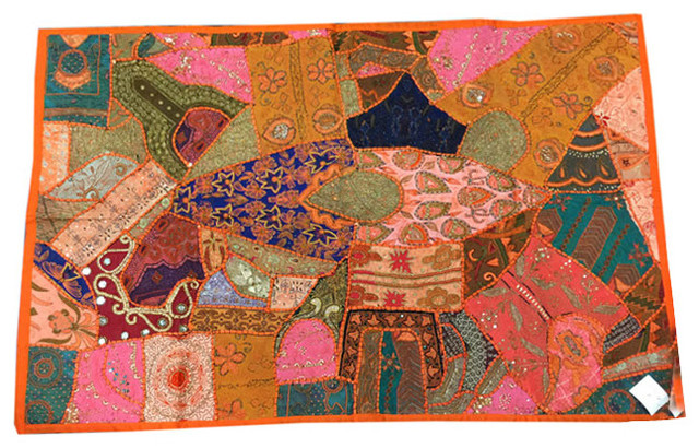 Indian Embroidered Orange Tapestry Wall Hanging Sequin ...