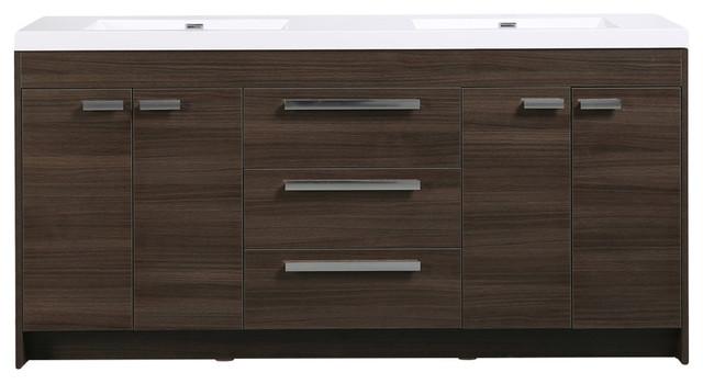 Eviva Lugano 72 Gray Oak Modern Vanity With Double Sink