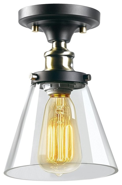 1-Light Flush Mount, Antique Brass And Brown Finish, Clear Glass Shade.