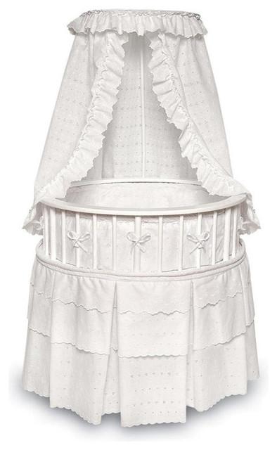 Badger Basket Co White Elegance Round, Badger Basket Round Bassinet Bedding