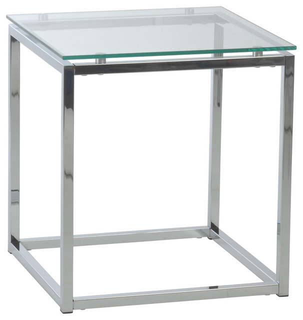 Sandor Square Side Table, Clear Glass And Chrome Contemporary Side Tables  And