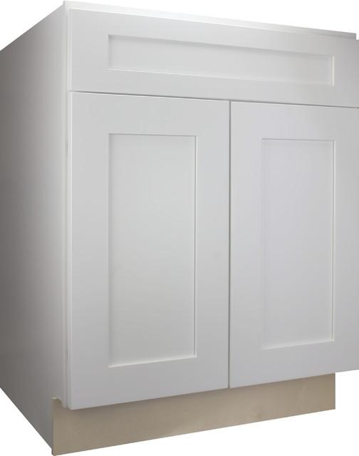 "Cabinet Mania White Shaker Kitchen Base Cabinet 27""x34.5""x24""."