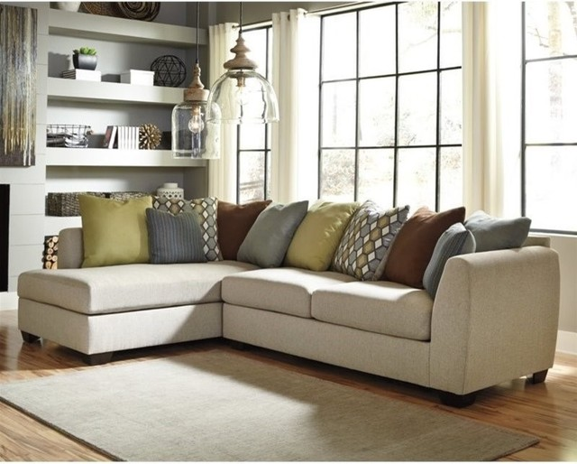 Ashley Casheral 2 Piece Left Fabric Corner Chaise Sectional, Linen Sectional  Sofas