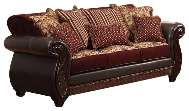 Traditional Style Sofa, Burgundy And Dark Cherry