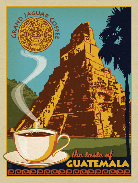 Coffee Collection Grand Jaguar Guatemalan Gallery Print Midcentury Prints And