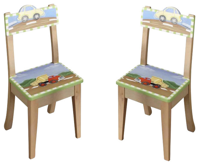 Teamson Kids Transportation Hand Painted Chairs (Set Of 2) Contemporary Kids  Chairs