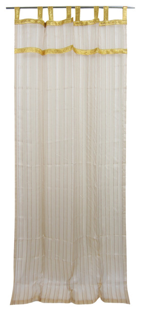2 Organza Sheer Curtains Beige Stripe Pattern Sari Border Indian ...