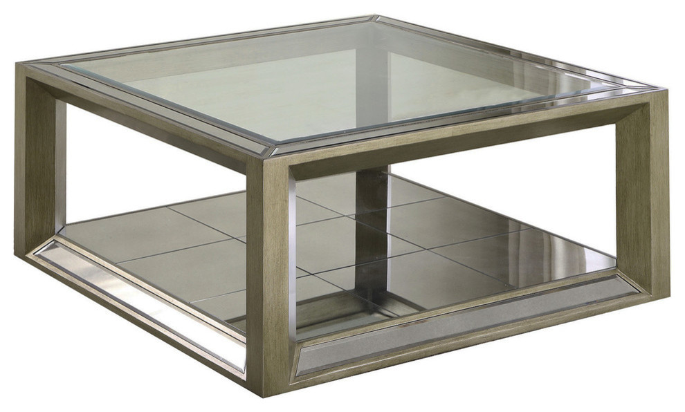 Pascual Dull Gold With Antique Mirrored Coffee Table Transitional Coffee Tables By Furniture Import Export Inc