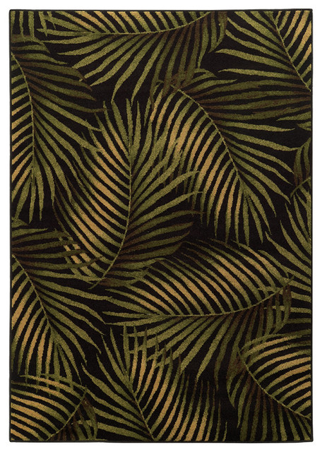 Tommy Bahama Villa 5581b Black Green Area Rug Tropical