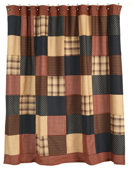 black and tan shower curtain. Patriotic Patch Shower Curtain  Americana Red Navy Blue and Tan VHC Brands farmhouse