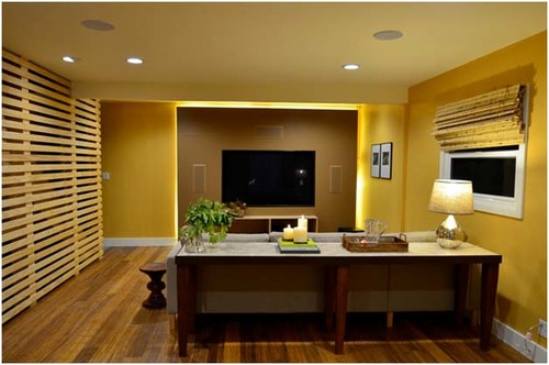 Led Tv Wall Panel Designs : Renovated Family Room w/ LED TV leather panel and slatted stair wall