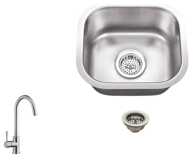 Stainless Steel 18-Gauge Single Bowl Bar Sink With Gooseneck Kitchen Faucet.
