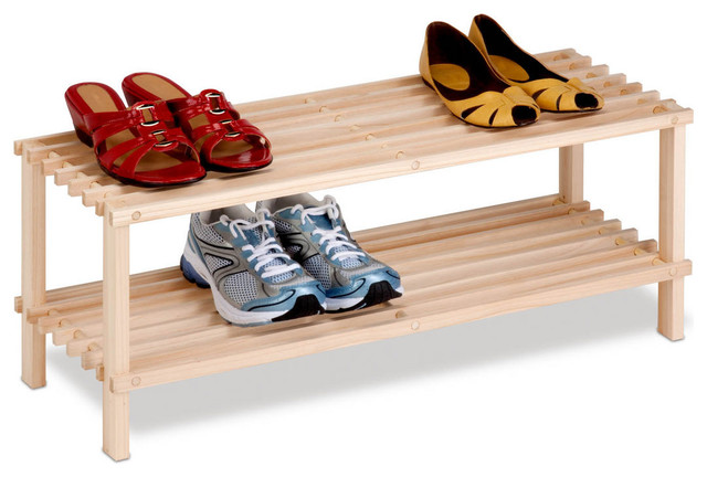 Honey Can Do 2-Tier Unfinished Natural Wood Shoe Rack.