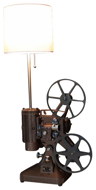 Early Brown K108 Movie Projector Table Lamp, White Shade