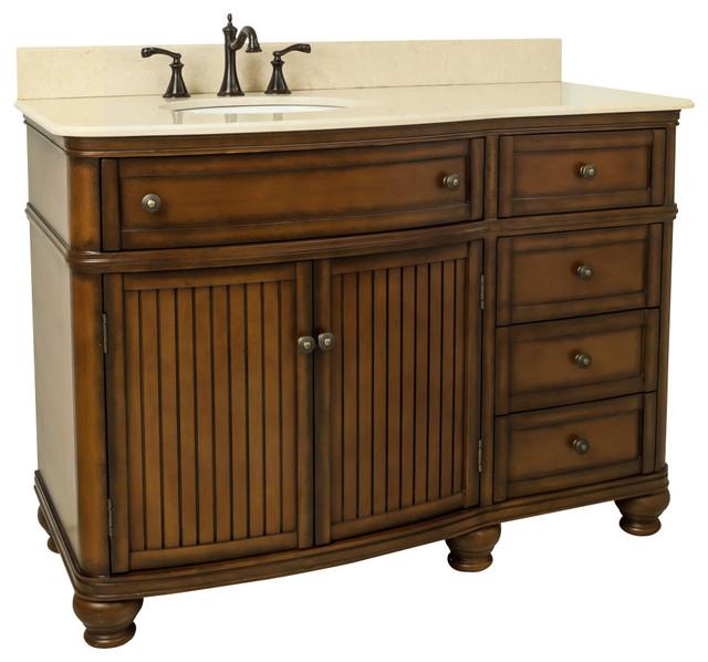 "Freestanding Beadboard Vanity, Walnut And Marble, 48"""