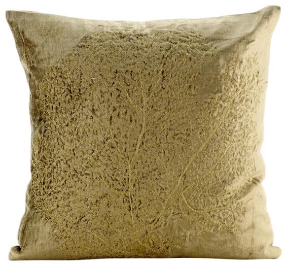Zardozi Golden Tree Velvet Sage Green Pillow Cases Gold Curiosity Custom Sage Green Decorative Pillows