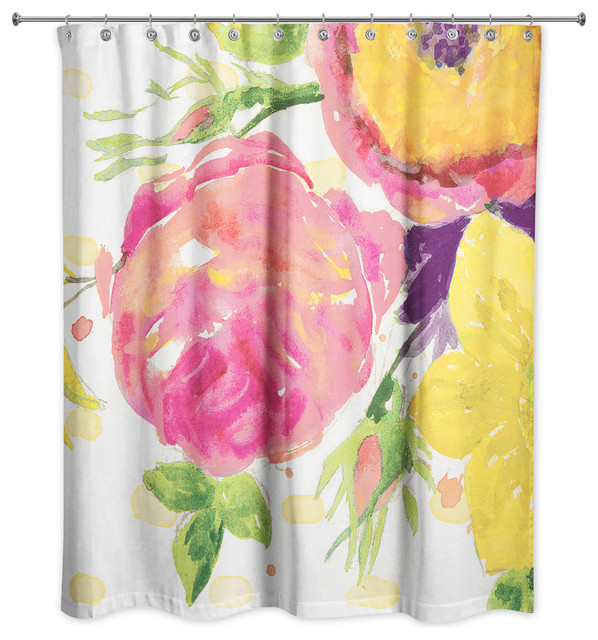 Pink And Yellow Floral Shower Curtain