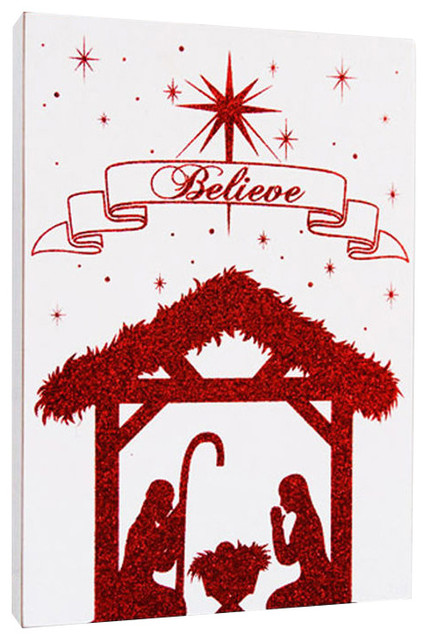 Believe Nativity White Amp Red Sparkle Wood Sign Modern