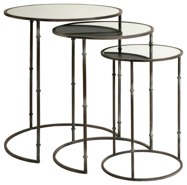 Mirror Top Nesting Tables, Set of 3