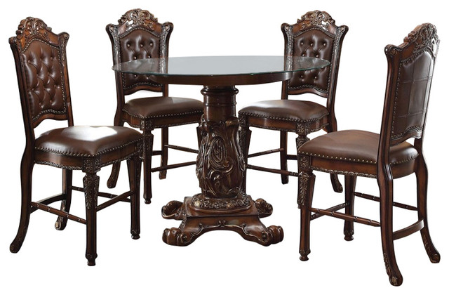 Vendome traditional round counter height dining table 5 for Traditional round dining table sets