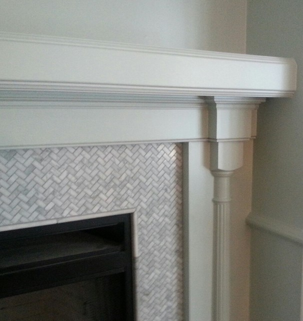 Detail of Carrara marble mosaic tile surround Traditional
