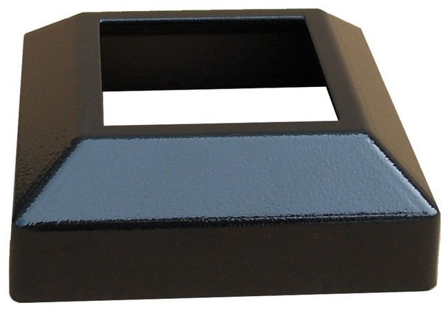 Contractor Deck Railing Aluminum 3x3 Post Base Cover, H Black, Low Profile