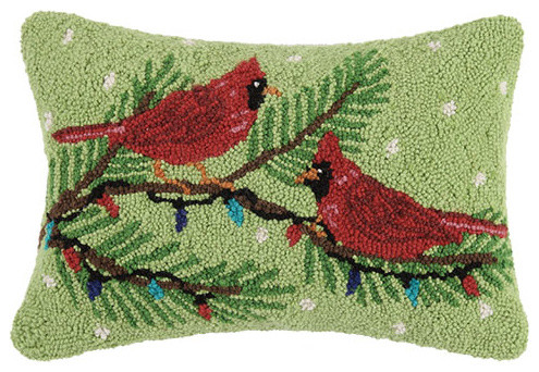 18x12 cardinal and christmas lights hook pillow