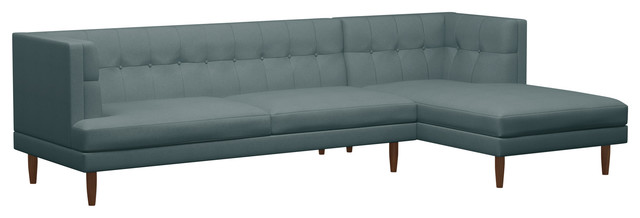 Riley Sofa With Chaise, Concrete, Walnut, 125, Right Facing.