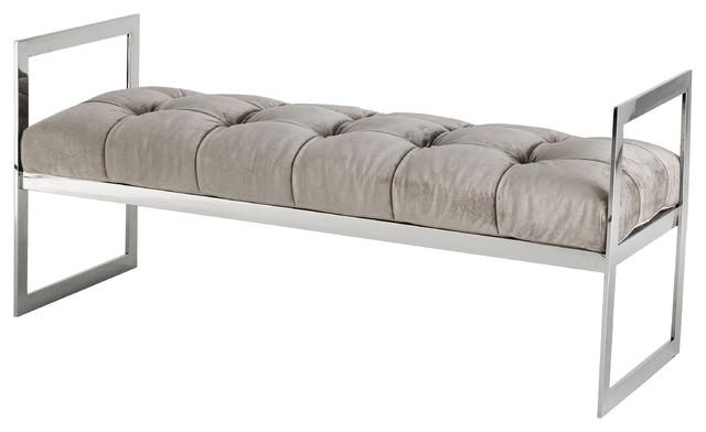Barcelona Modern Classic Gray Velvet Tufted Bench.
