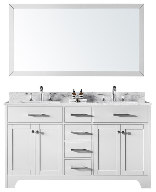 60 Double Bathroom Vanity, White With Carrara Marble Top And Mirror.