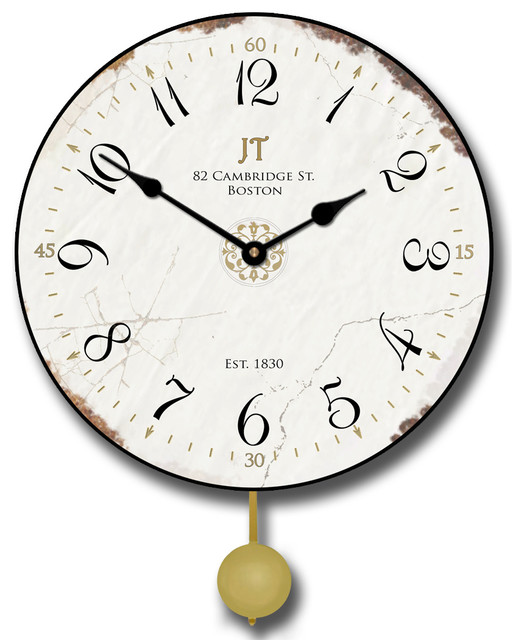 Vintage White Clock Pendulum Contemporary Wall Clocks By Clocks Around The World