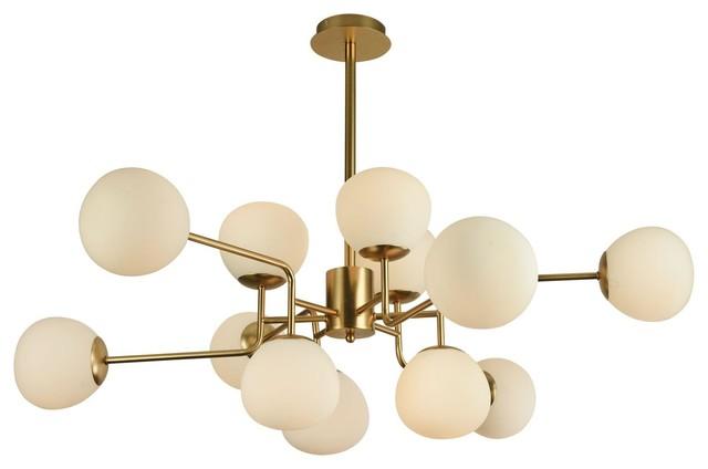 Erich Modern Sputnik Chandelier With White Globe Shades, 12 Light