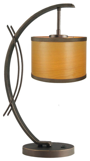 Eclipse Veneer Drum Shade Table Lamp, Nougat.