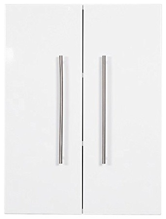 Modern High Gloss Bathroom Cabinet in MDF With White Finish, Double Doors