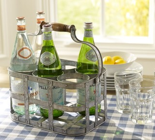 Galvanized Metal 6-Pack Bottle Caddy