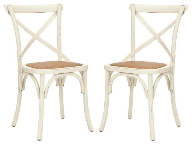 Safavieh Franklin X Back Chair, Set Of 2, Ivory.