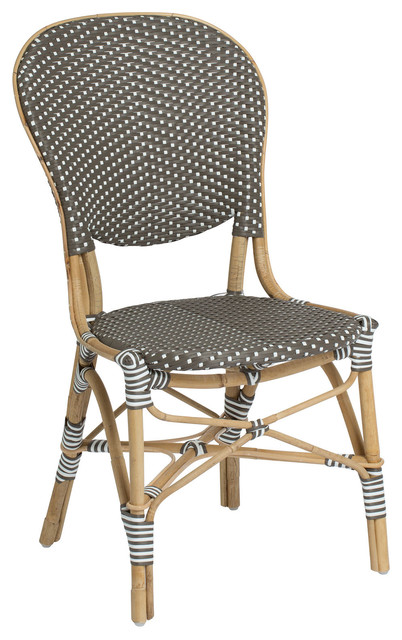 Isabell Outdoor Bistro Side Chair, Cappuccino and White