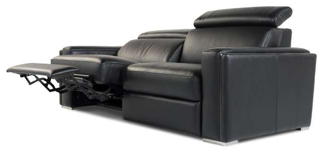 Admirable Ellie Full Top Grain B Grade Leather Motorized Sofa Black Dailytribune Chair Design For Home Dailytribuneorg