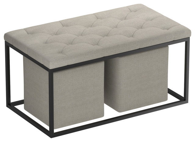 3 -PieceRectangular Cocktail Ottoman Set, Light Gray